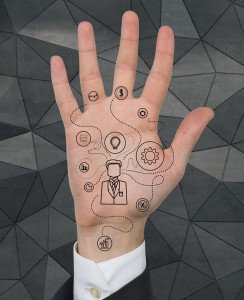 Hand with Social media patterns