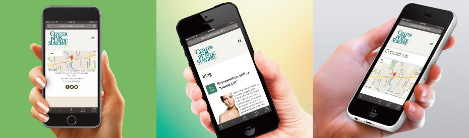 Mobile views of Center for plastic surgery site