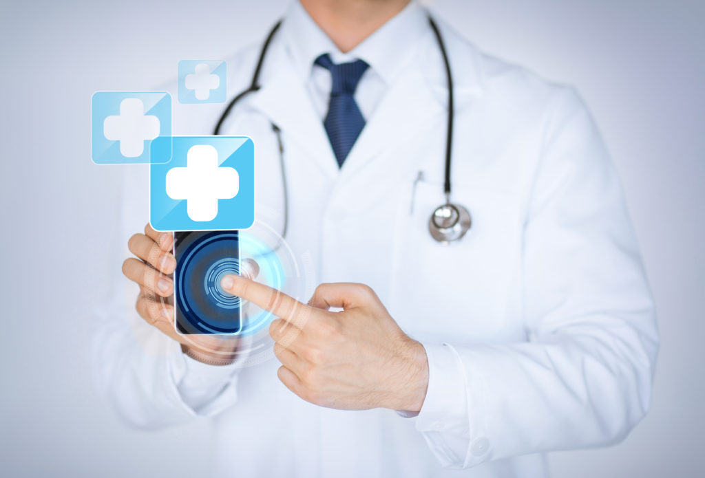 close up of male doctor holding smartphone with medical app - mobile marketing